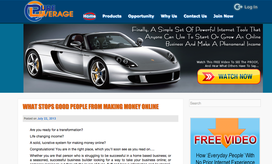Pure Leverage Blogging Platform Review
